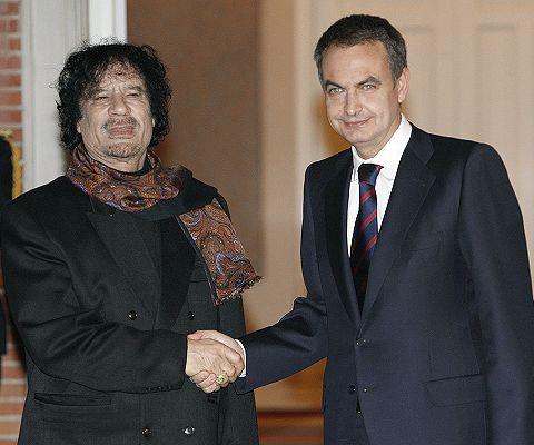Gadafi y J.L. Rodríguez Zapatero